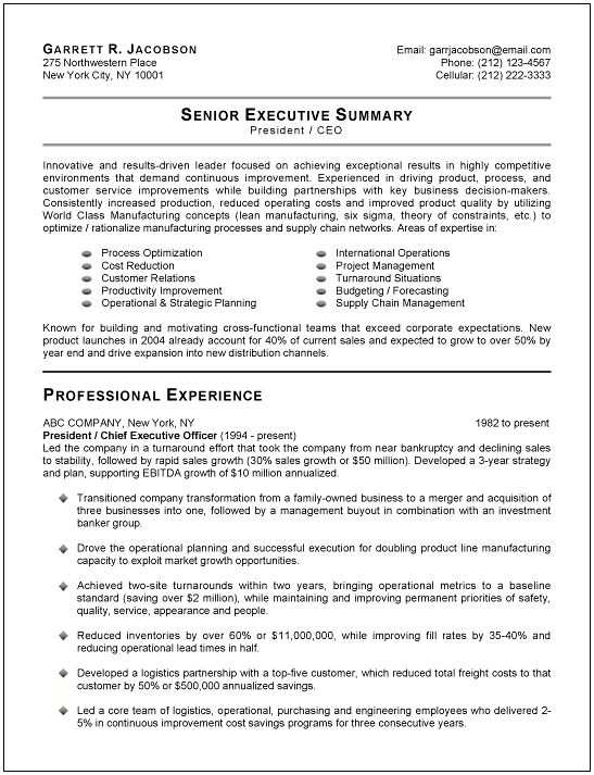 Executive Resume Examples 13 CFO Resume Sample Manufacturing ...