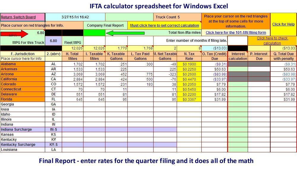 Microsoft Excel spreadsheet for calculating IFTA fuel tax
