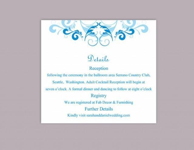DIY Wedding Details Card Template Editable Word File Instant ...