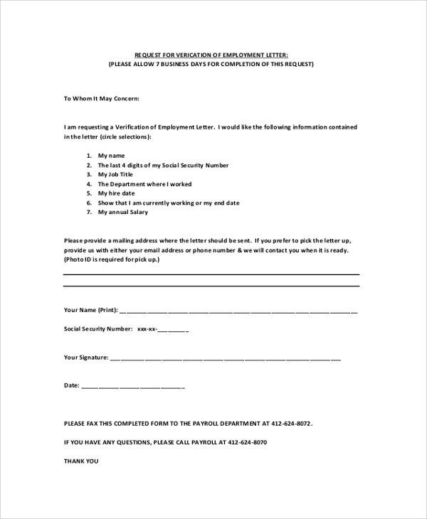 Sample Employment Verification Letter - 7+ Documents in PDF, Word