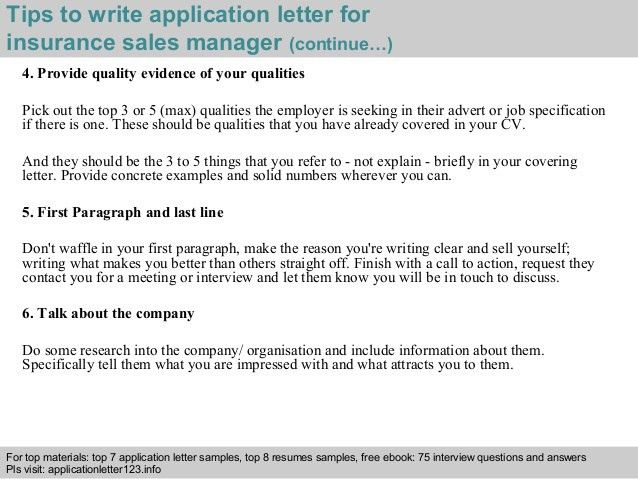 Insurance sales manager application letter