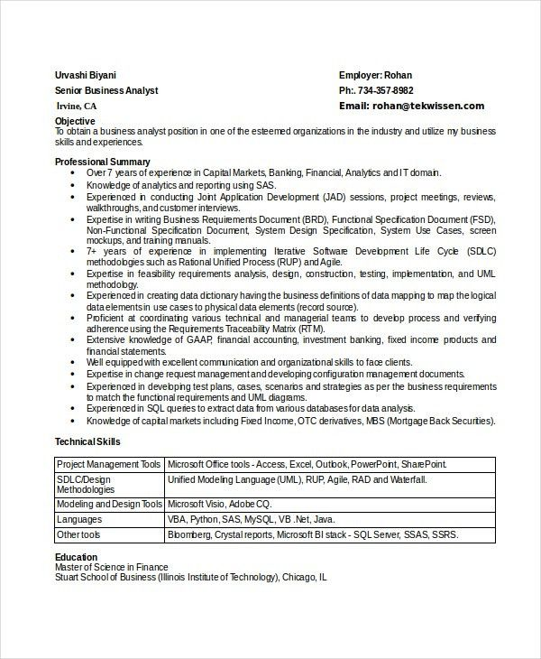 Business Analyst Resume Template. Business Analyst Resume Examples ...
