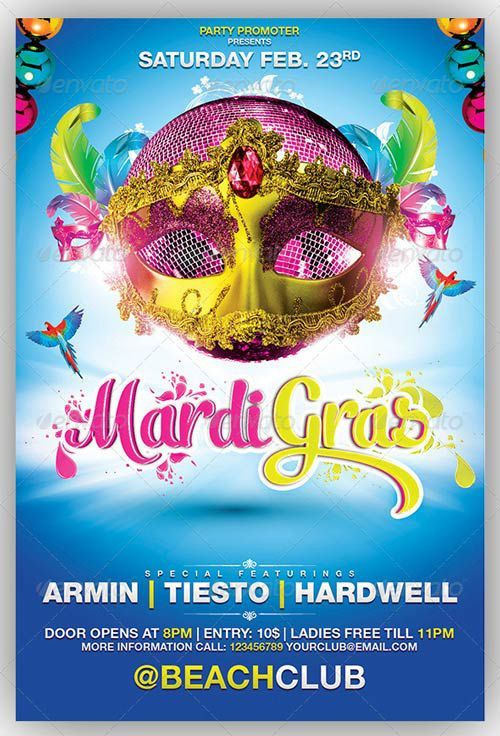 Best 20 Mardi Gras Flyer Templates Collection download