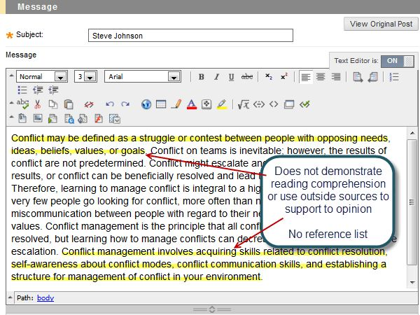 Discussion Board Formatting Issues & Requirements