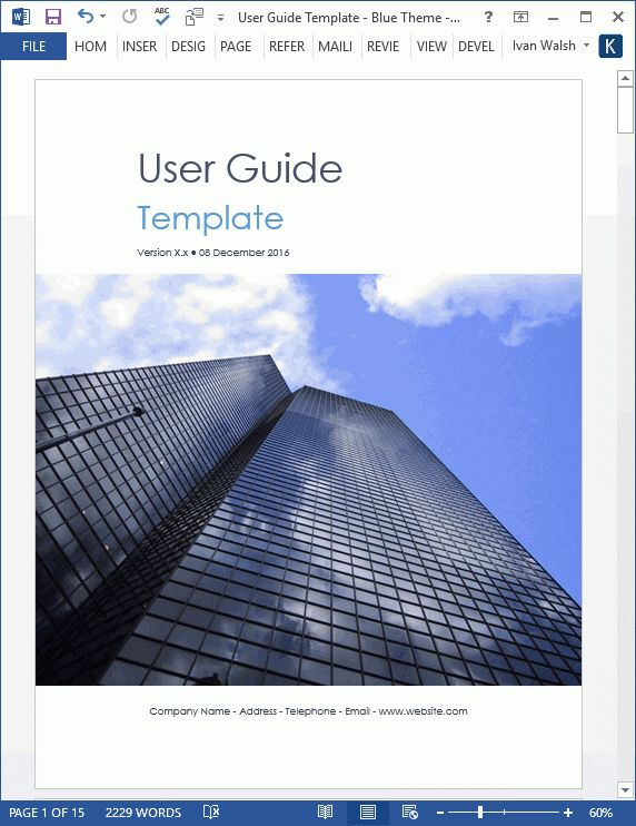 User Guide Templates (5 x MS Word)