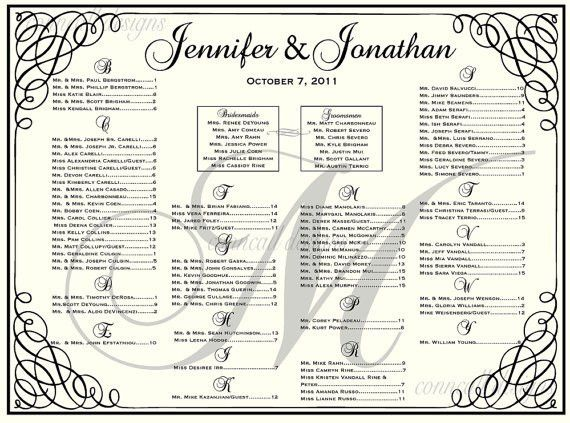 Items similar to Wedding Seating Chart, Seating Template, Wedding ...