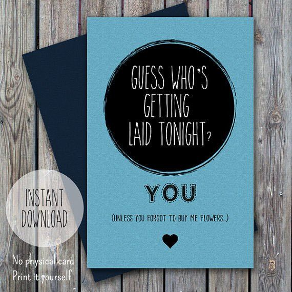 Funny valentine card for him printable anniversary card