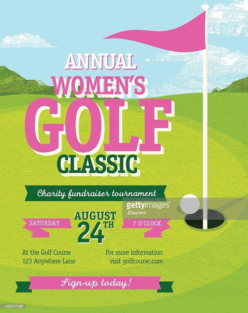 Golf Tournament Invitation Flyer With Female Golfer Vector Art ...