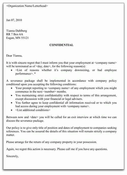 Printable Sample Letter Of Termination Form | Laywers Template ...