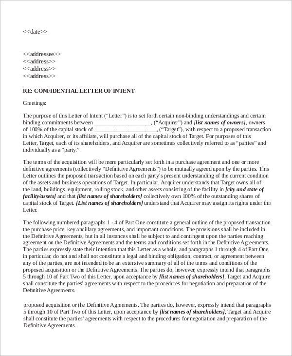 Letter of Intent Example - 10+ Samples in Word, PDF
