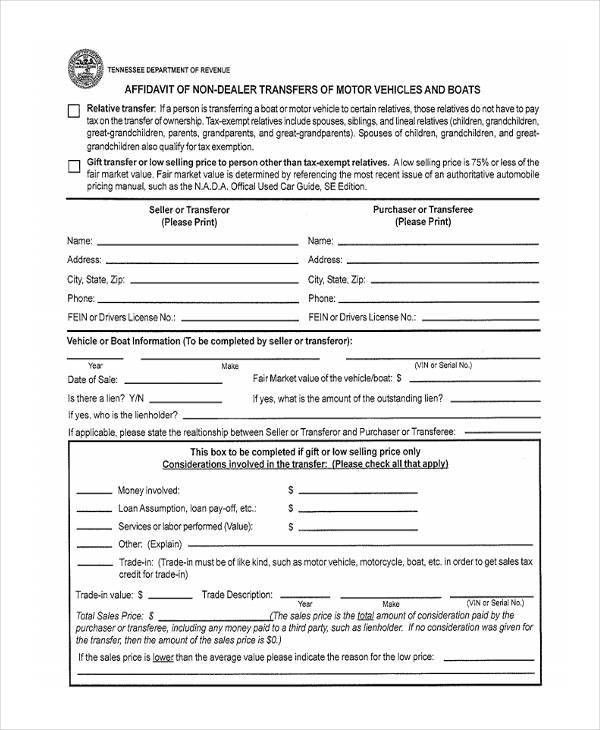 Gift Affidavit Forms - 6+ Free Documents in Word, PDF