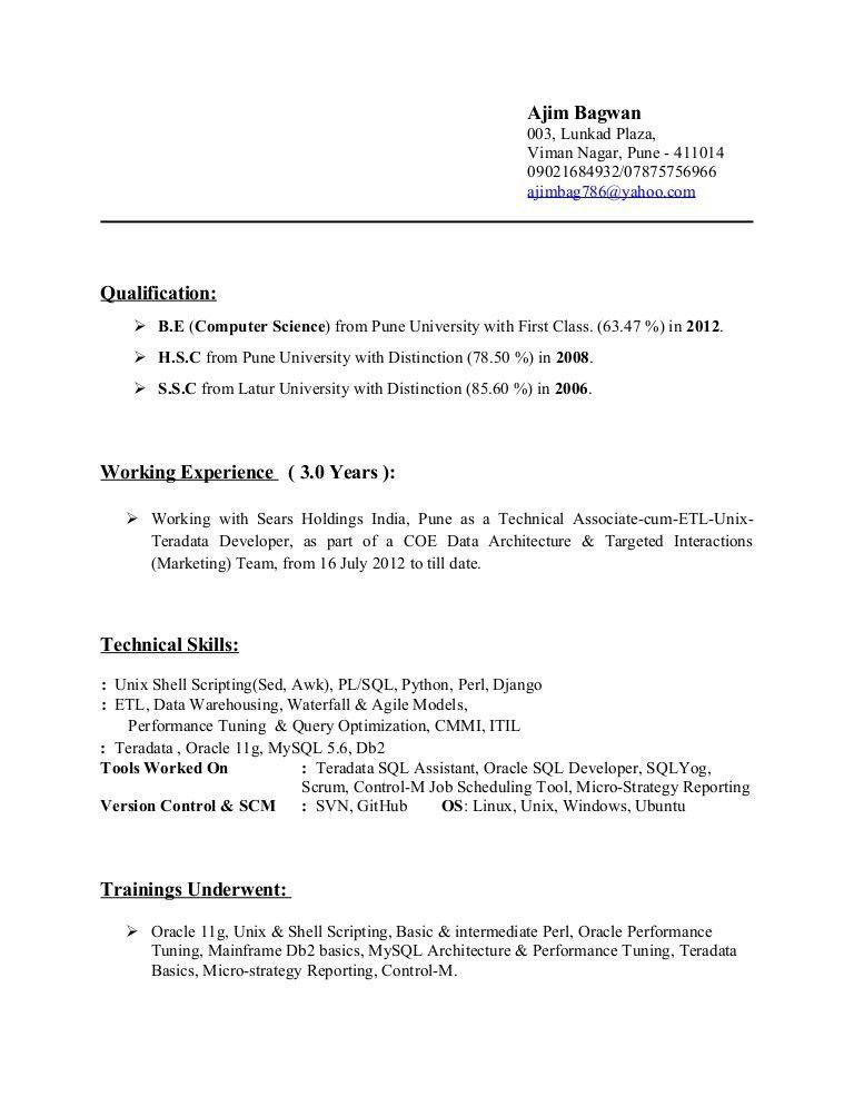 Ajim Bagwan- (Unix, Teradata, Perl, SQL, Python Developer) (3 Yr)