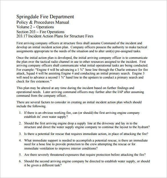 Incident Action Plan Template – 7+ Free Sample, Example, Format ...