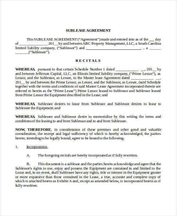 Sublease Agreement Template - 10+ Free Word, PDF Documents ...