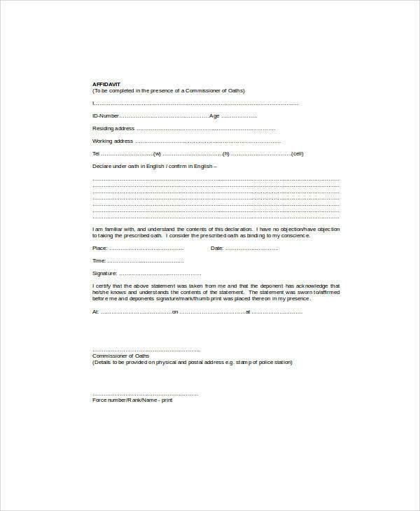 Affidavit Template Uk, how do i create an affidavit better life ...