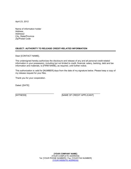 Authority to Release Credit Information - Template & Sample Form ...