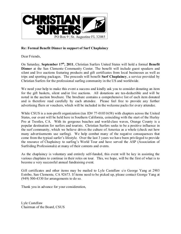 Donation Request Letter. Surf Chaplaincy Benefit Donation Request ...