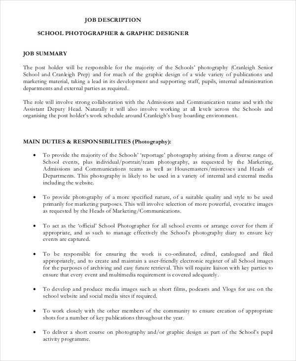 Photographer Job Description - 10+ Free Word, PDF Documents ...