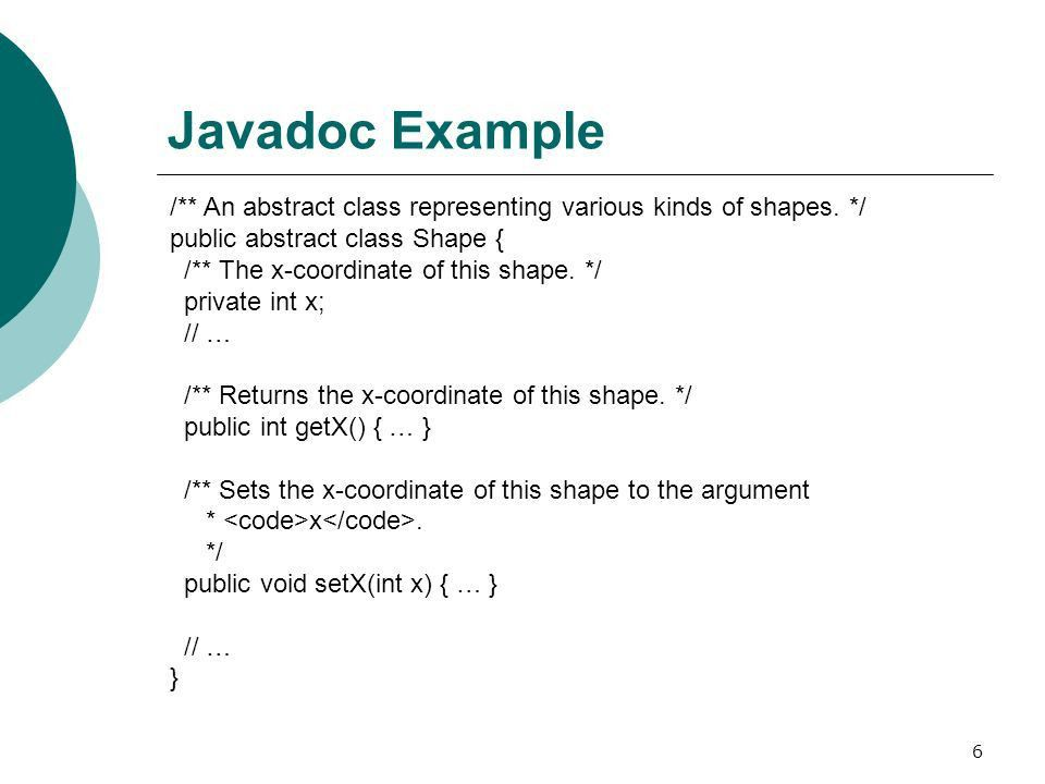 1 Documenting with Javadoc How to Write Doc Comments for the ...