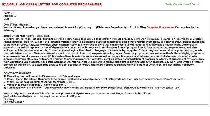 Computer Programmer Offer Letter