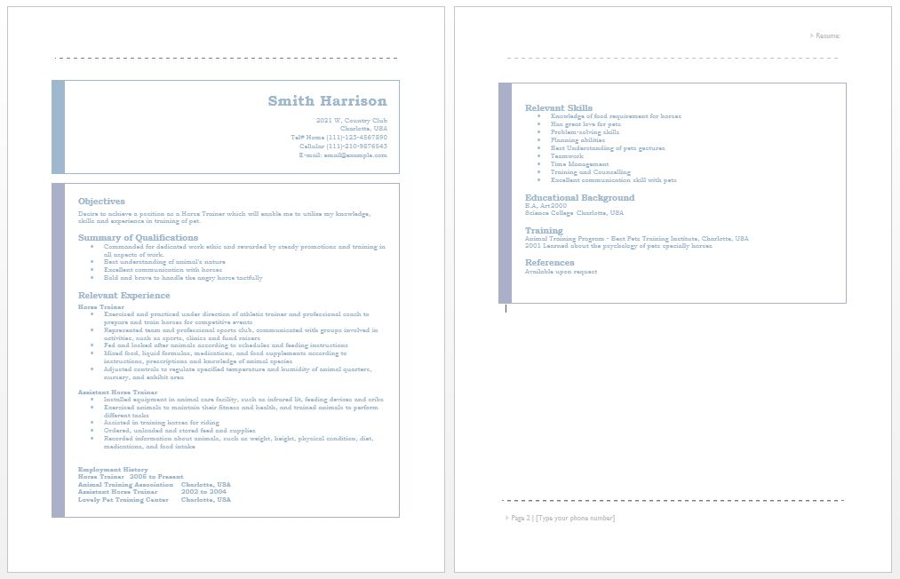 Horse Trainer Resume Sample. human resources assistant resume ...