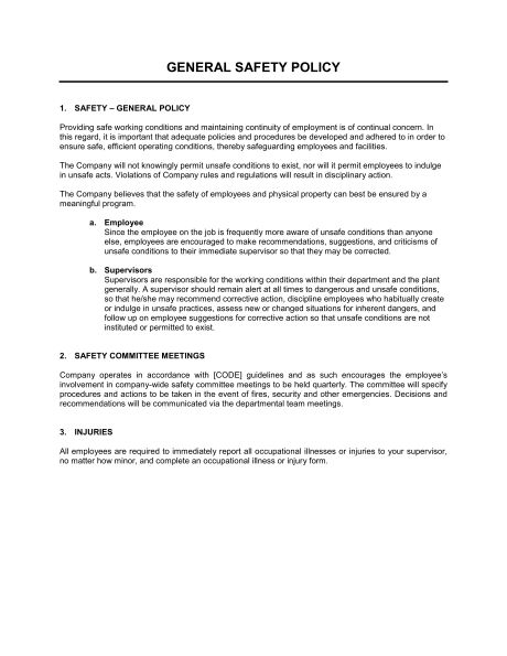 General Safety Policy - Template & Sample Form   Biztree.com