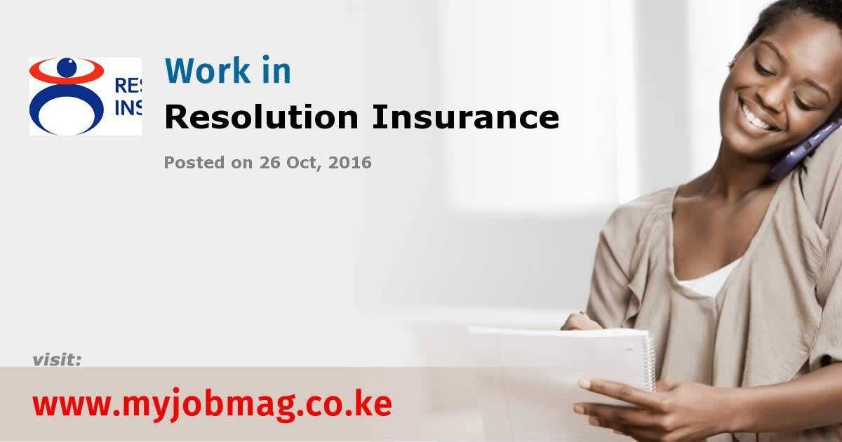 Job Opportunities at Resolution Insurance - 26 October, 2016