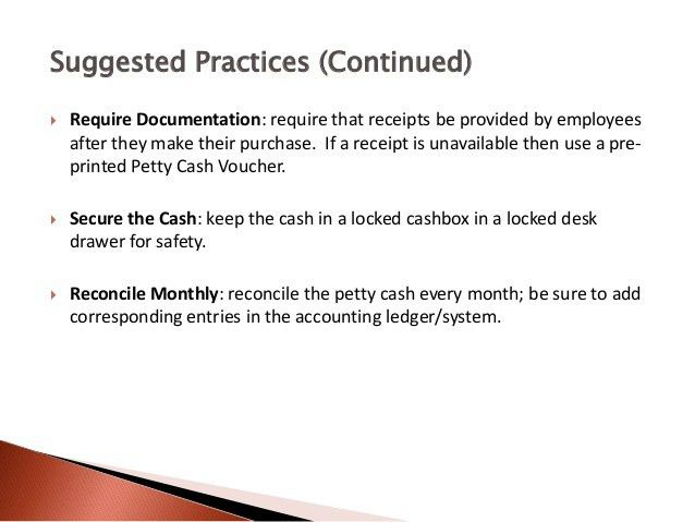 Petty Cash Management - Introduction to Petty Cash
