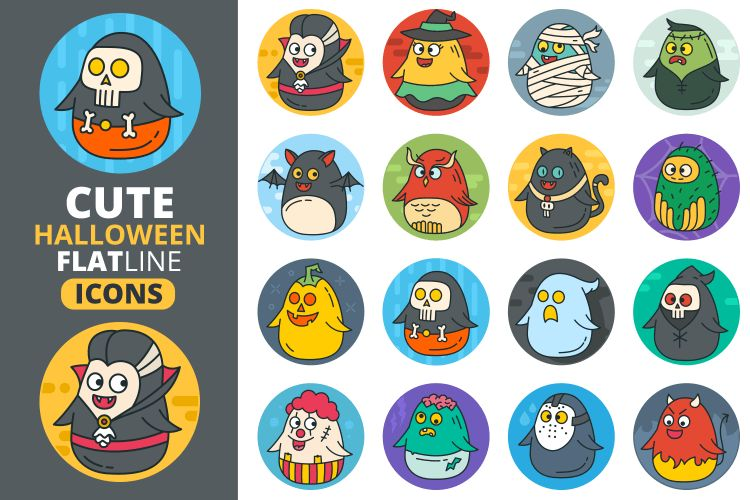 Cute Flat Halloween Characters Vol.2 by | Design Bundles