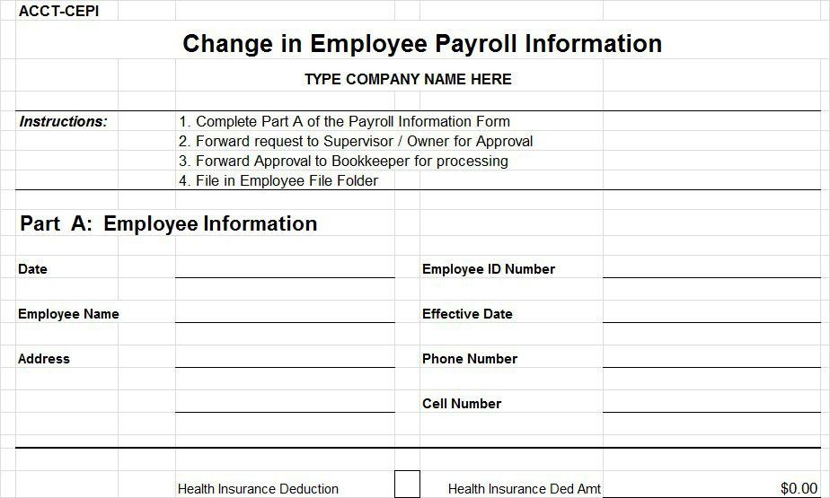 payroll forms templates sample blank payroll form template 8 free