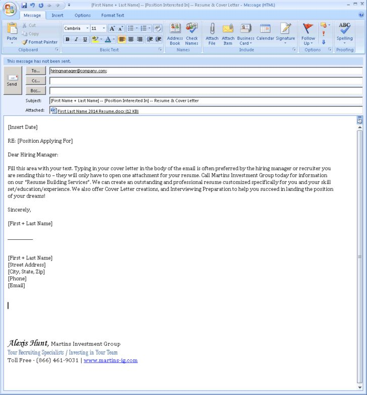 Cover Letter Email Example - My Document Blog