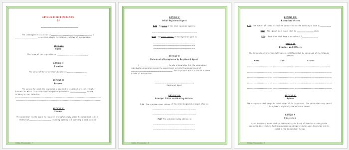Articles of Incorporation Templates - Printable Forms for Word