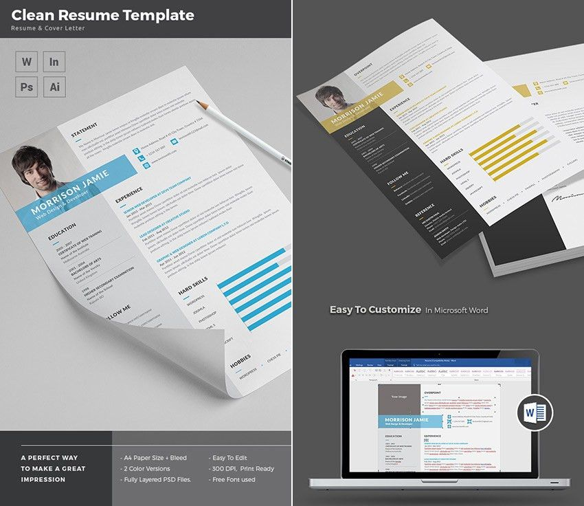 20+ Professional MS Word Resume Templates - With Simple Designs