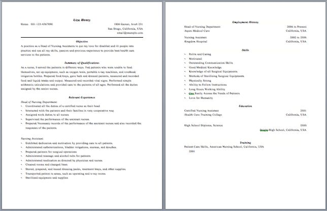 sample resume cna resume cv cover letter. certified nursing ...