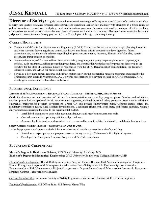 Interesting Safety Manager Resume Unusual - Resume CV Cover Letter