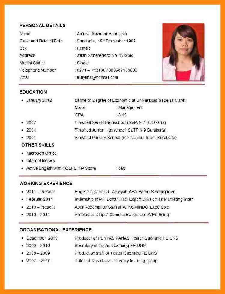 7+ format of cv for job application | manager resume