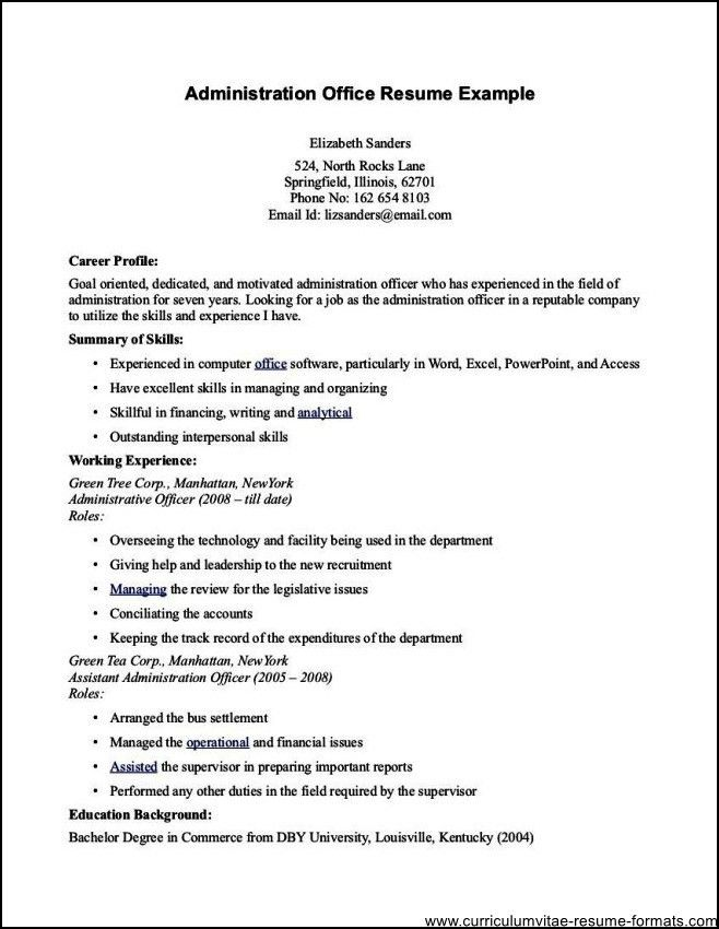 Office Administrator Resume - Free Samples , Examples & Format ...