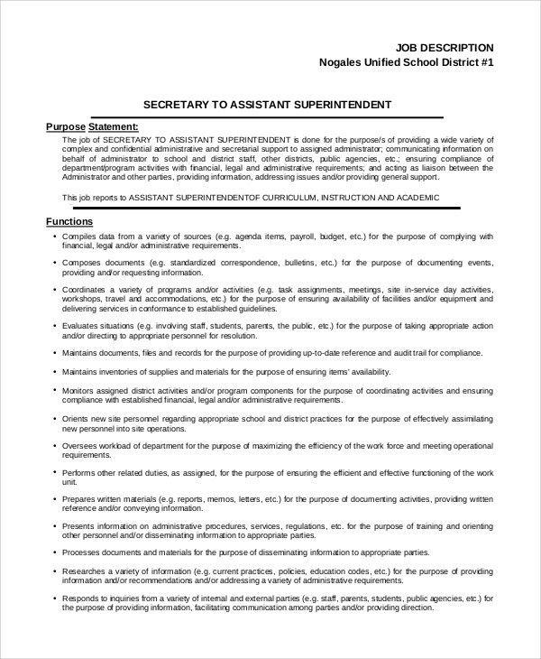 Sample Secretary Job Description - 8+ Examples in PDF, Word