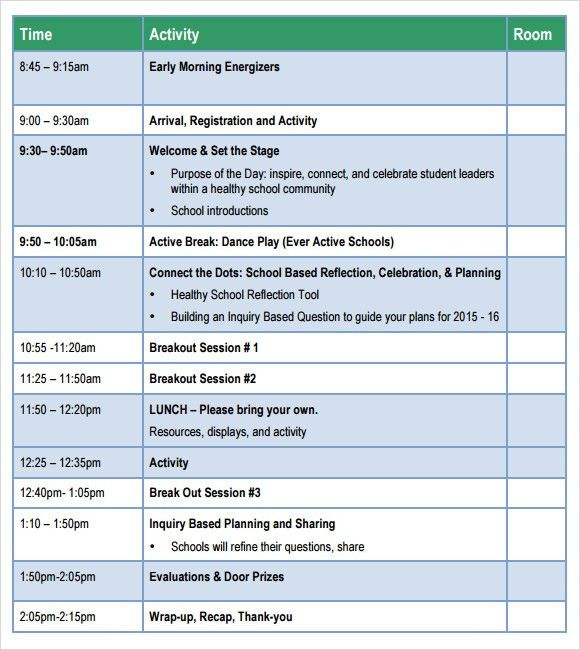 School Agenda – 6 Free Samples , Examples , Format