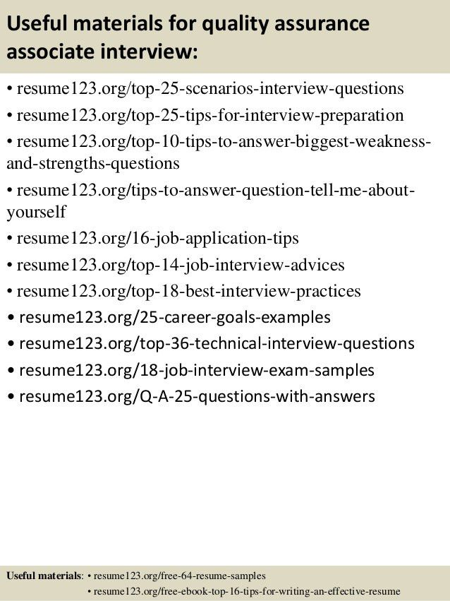 Top 8 quality assurance associate resume samples