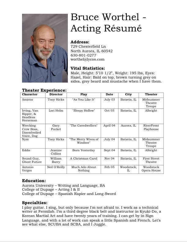 examples gorgeous design sample acting resume 5 acting resume ...