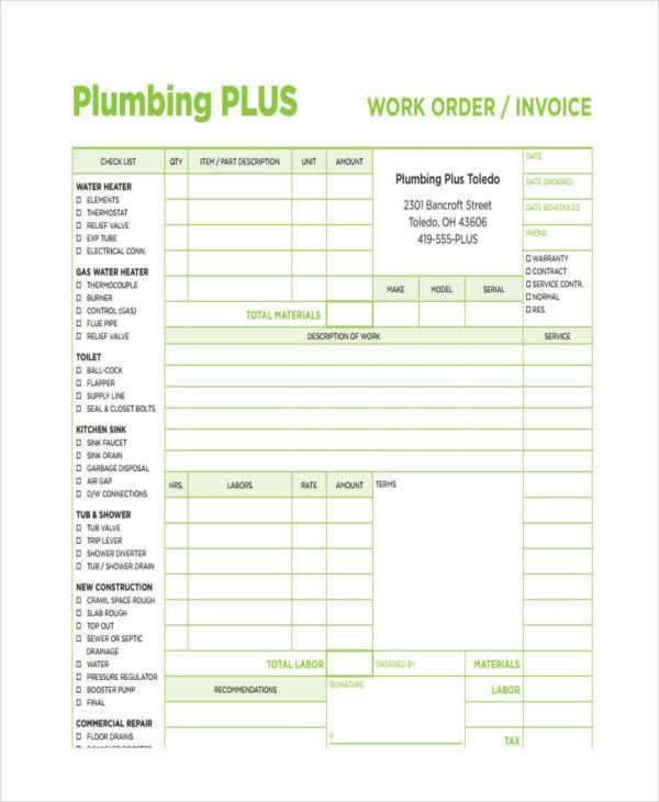 7+ Plumbing Invoice Examples, Samples