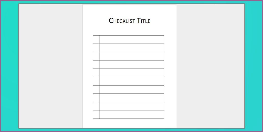 WORD CHECKLIST TEMPLATE | designproposalexample.com