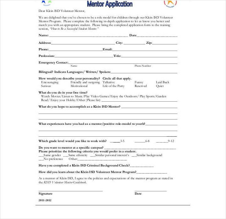 11+ Mentor Application Form Templates - Free Word, PDF Format ...