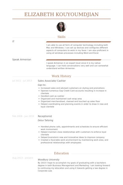 Sales Associate/ Cashier Resume samples - VisualCV resume samples ...