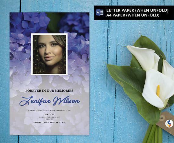 Printable Funeral Program Template, Obituary Program, Memorial ...
