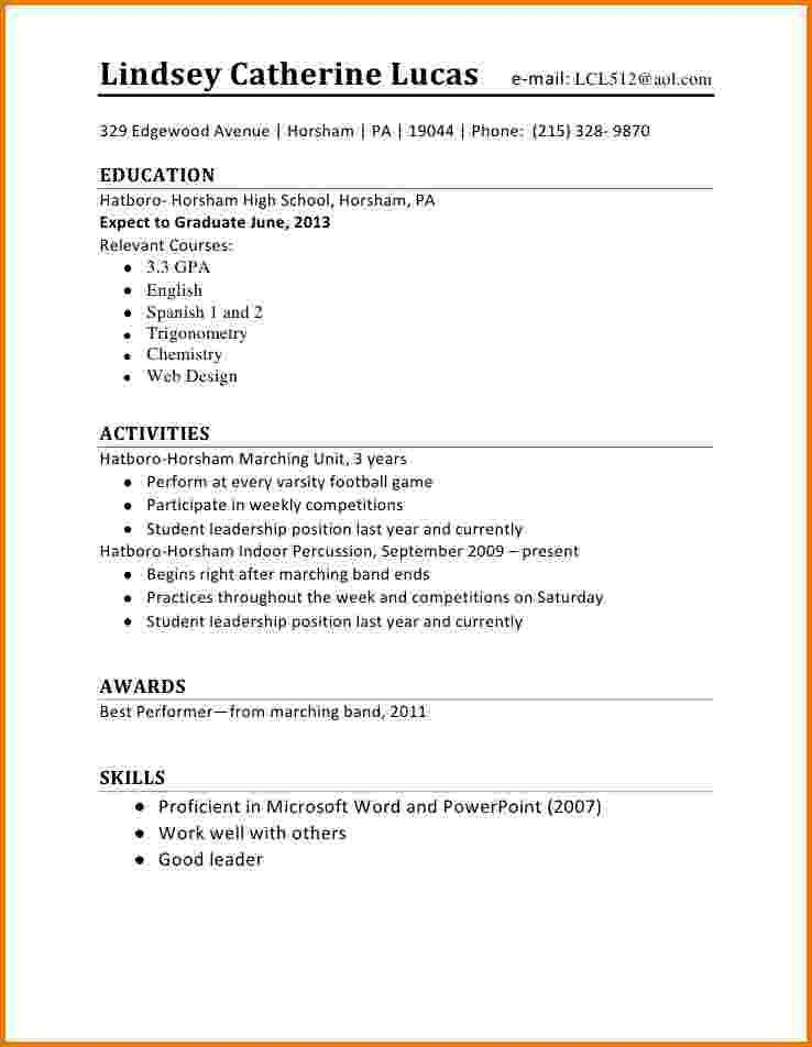 7+ first time resume high school student | Financial Statement Form