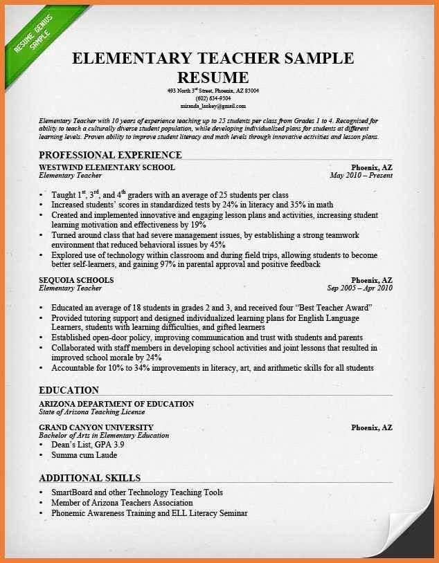 Elementary Teacher Resumes. How To Create An Esl Teacher Resume ...