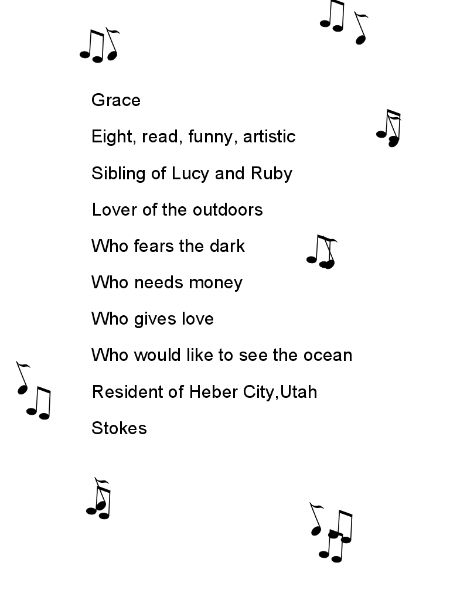 Bio Poem Template Grace Stokes