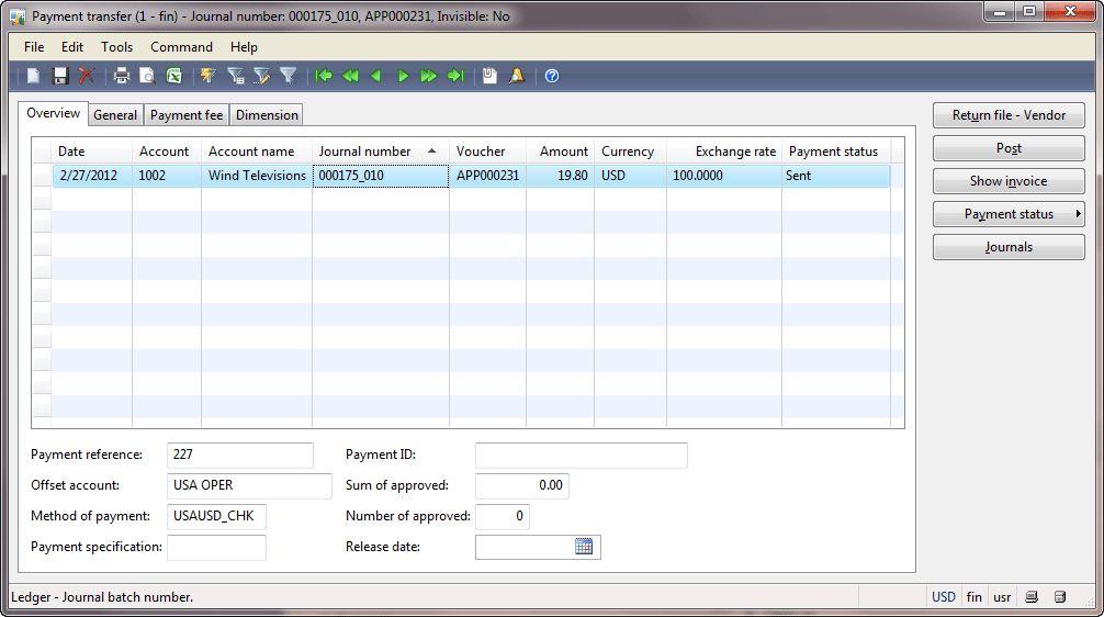 Payment process | Dynamics AX Training